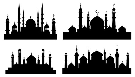 mosque silhouettes on the white background