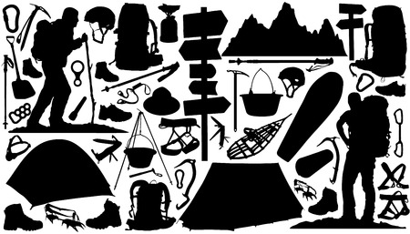 Illustration pour hiking silhouettes on the white background - image libre de droit