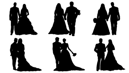wedding couple silhouettes on the white background
