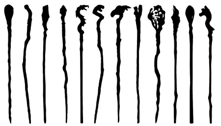 magic staff silhouettes on the white background