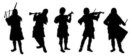 musician silhouettes on the white background