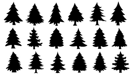 chritmas tree silhouettes on the white background