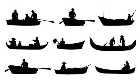 Ilustración de on boat silhouettes on the white background - Imagen libre de derechos