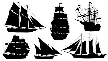 sailboat silhouettes on the white background