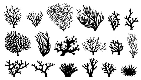 Illustration pour coral silhouettes on the white background - image libre de droit