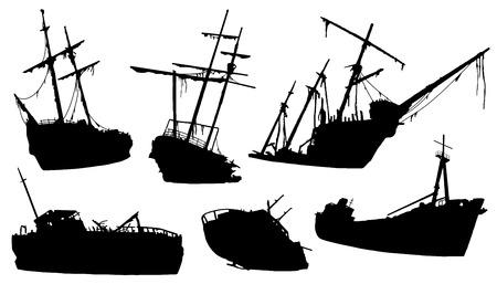 Illustration pour shipwreck silhouettes on the white background - image libre de droit