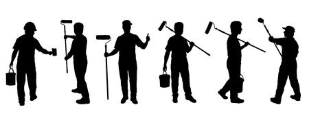 Illustration for painter silhouettes on the white background - Royalty Free Image