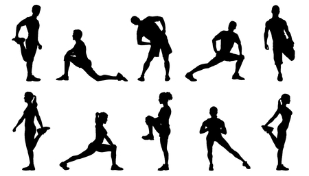 Photo for stretch silhouettes on the white background - Royalty Free Image