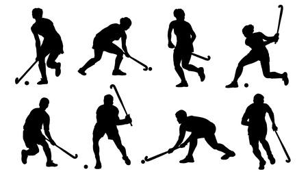 Illustration pour field hockey silhouettes on the white background - image libre de droit