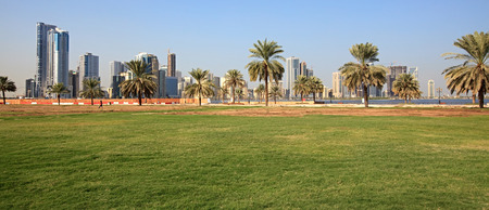 Urban landscape Modern Sharjah in the UAE.