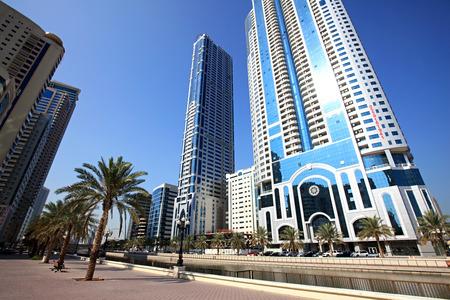 Modern skyscrapers in Sharjah in the UAE.