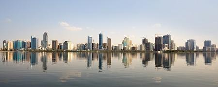 Skyscrapers in Sharjah. Khalid Lagoon in the UAE.