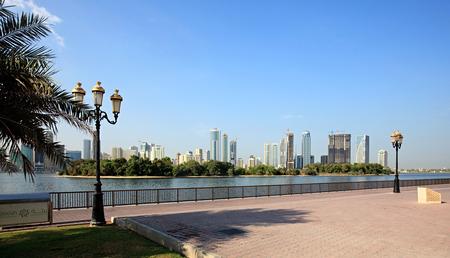 Embankment. Khalid Lagoon. Sharjah in the UAE
