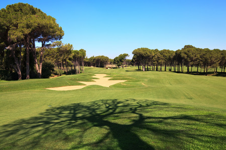 Golf course with sand trap. Belek in Turkey.