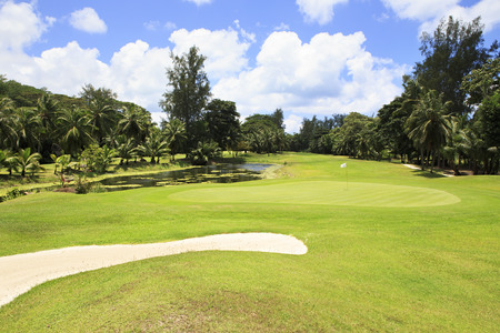 Beautiful golf course at the Constance Lemuria Resort. Praslin Island in the Seychelles.