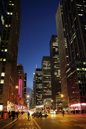A street view in the evening in Manhattan, New York City