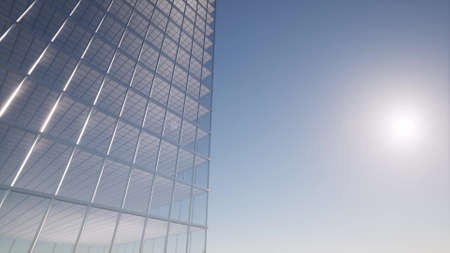 Foto de Office building windows Modern design interior and aerial view on skyscraper 3d rendering - Imagen libre de derechos