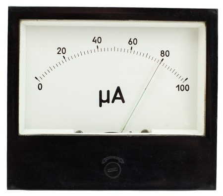 Black square analog ampermeter isolated on white background with 80 uA reading on scale.