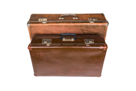 Photo pour two old brown soviet fiber suitcases isolated on white background - image libre de droit