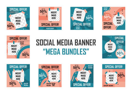 Illustration pour Social media banner mega bundles set. Easy to edit with vector file. Can use for your creative content. Especially for marketing and social media post. - image libre de droit