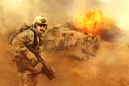 Photo for United States Army rangers are attacking the enemy - Royalty Free Image