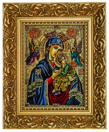 Antique icon of a Mother of God (Mary) and child (Jesus Christ) with Angels