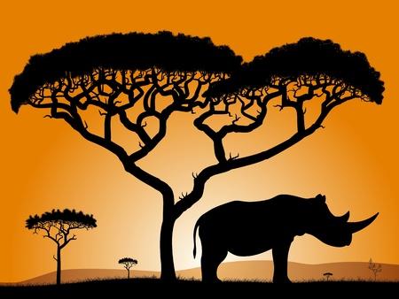 Ilustración de Savannah - rhino. Dawn in the African savanna. Silhouettes of trees and a rhino on the background of the sky orange.   - Imagen libre de derechos