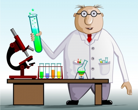 The scientist chemist  On the table test tubes, flask, microscope  Vector illustration