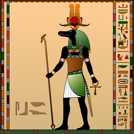 Religion of Ancient Egypt. Sebek - Ancient Egyptian god of water and the flood of the Nile River. God is with the head of a Nile crocodile. Vector illustration.