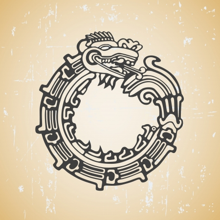 Illustration pour Quetzalcoatl ouroboros, maya symbolic round snake, eating its own tail - image libre de droit