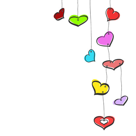 Nine colorful sketch hanging hearts on white background