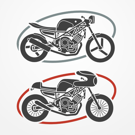 Illustration pour Two flat looking motorcycles in gray colors, modern and retro - image libre de droit