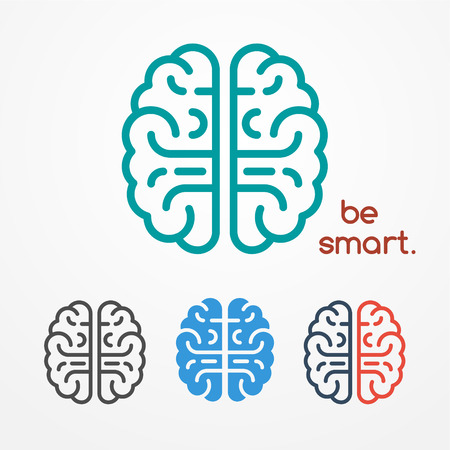 Abstract flat looking human brain logo set in different colors