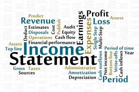 Income Statement word cloud with data sheet background