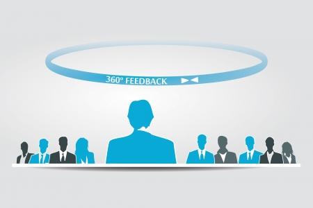 Illustration pour Human resources 360 feedback assessment evaluation - image libre de droit