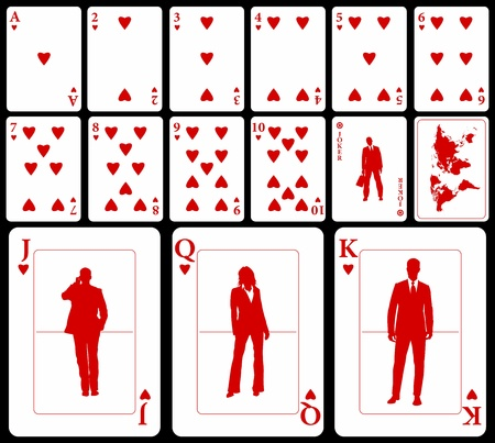 Vector business playing cards (you can find the clubs, diamonds, and spades in my portfolio) isolated on black background: hearts suit with joker and black world map as a back.
