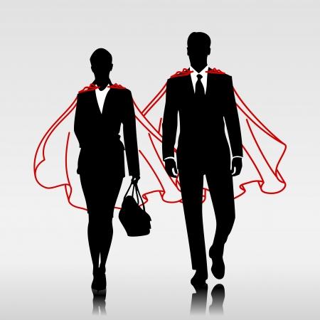 Vektor für Business heroes couple with red cloak - Lizenzfreies Bild