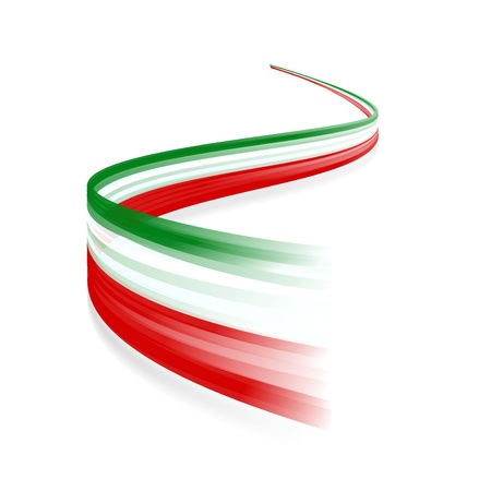 Abstract Italian waving flag isolated on white background