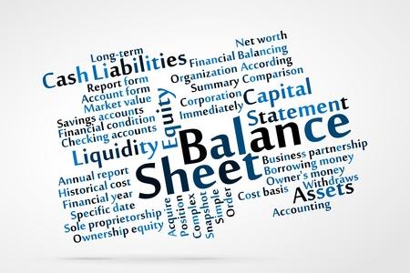 Balance Sheet word cloud with data sheet background