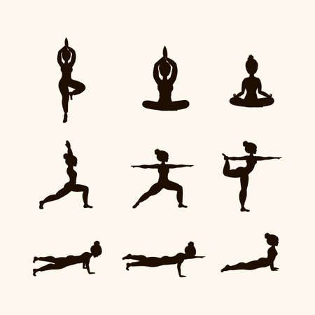 Illustration pour Set in black Yoga poses. Icons of Women doing Yoga. The concept of relaxation, meditation. The bodies of the people for the logo are filled with dark color. Vector clip art in a flat style - image libre de droit