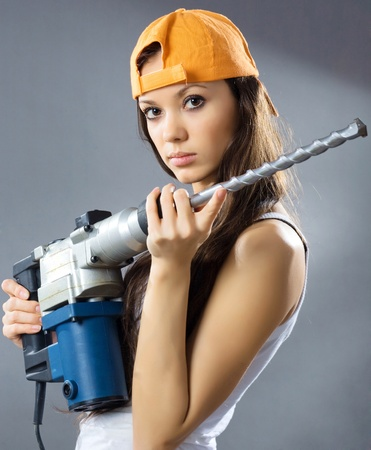 Photo for sexy young woman construction worker  - Royalty Free Image