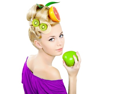 beautiful young fashion model with a fruity hair