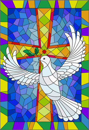 Illustration pour Illustration with a cross and a dove in the stained glass style - image libre de droit