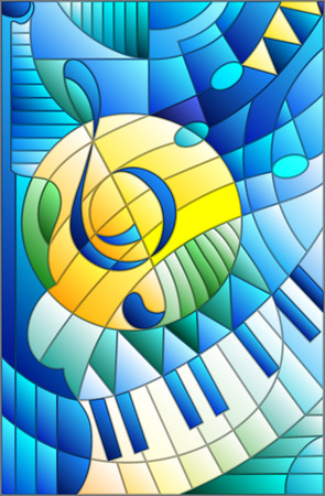 Illustration for Abstract image of a treble clef in stained glass style - Royalty Free Image