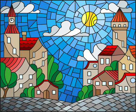 Illustration in stained glass style, urban landscape,roofs and trees against the day sky and sun.