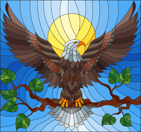 Ilustración de Illustration in stained glass style with fabulous eagle sitting on a tree branch against the sky - Imagen libre de derechos
