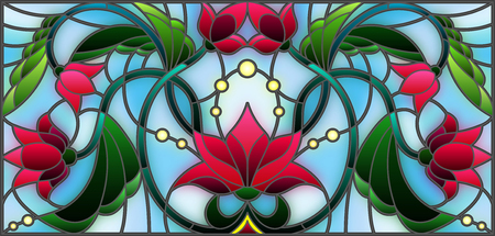 Illustration pour Illustration in stained glass style with abstract pink flowers on a blue background - image libre de droit