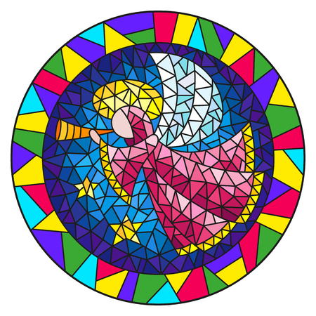Ilustración de Illustration in stained glass style with an abstract angel in pink robe blowing pipe , round picture frame in bright - Imagen libre de derechos
