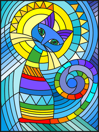 Illustration pour Illustration in stained glass style with abstract geometric cat - image libre de droit