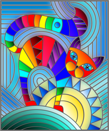 Illustration pour Illustration in stained glass style with abstract geometric rainbow cat - image libre de droit